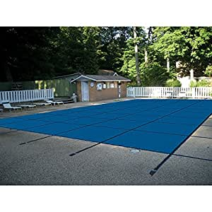 Water Warden Pool Safety Cover Blue Mesh with Right Step 18 by 36-Feet Pool