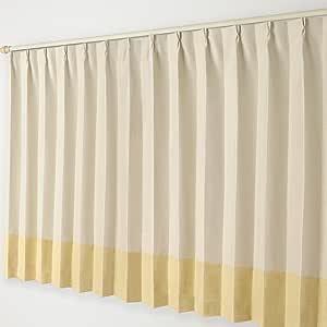 ナチュラル遮光カーテン Aフック 16.ベージュ×黄色ボトム 幅300×丈150cm 1枚
