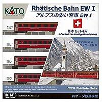 KATO N轨距 阿尔卑斯红客车 Ew I 4辆基本组合 10-1413 铁道模型 客车