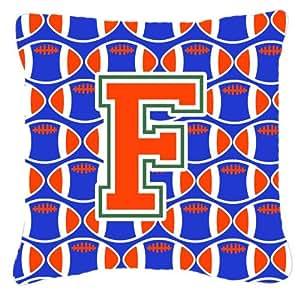 Caroline's Treasures CJ1083-FPW1414 字母 F 橄榄球绿、蓝色和橙色织物装饰枕头,35.56 cm 高 x 35.56 cm 宽,多色