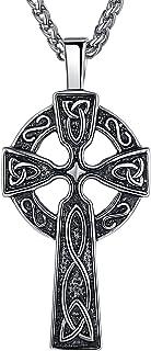 """男式凯尔特三位一体结哥特式复古宗教十字架吊坠项链 24"""" 薰衣草色"""