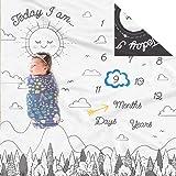 双面每月婴儿里程碑毛毯 - 婴儿图片的月毛毯 | 带婴儿照片道具 | 月龄毯 | 新生儿婴儿男孩女孩里程碑毛毯 黑白色 MB00003