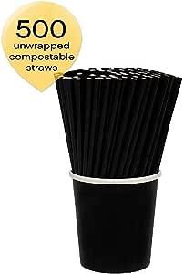 Sophistiplate 饮用吸管 黑色 500 Count STR-1001-500