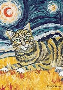 Toland Home 花园 Van Meow Tabby Kitty 71.12 x 101.60 cm 装饰彩色艺术星夜猫肖像屋旗