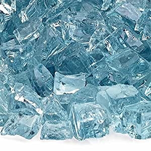 American Fireglass 10-Pound Fire Glass with Fireplace Glass and Fire Pit Glass, 1/2-Inch, Azuria