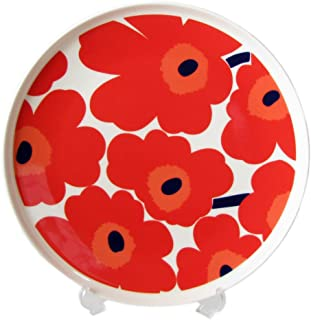 Marimekko UNIKKO 盘 白色×红色 25cm 67956 001 【平行进口】 67956 001