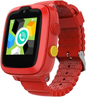 2020 型号 - 4G 儿童智能手表带 GPS 追踪器 | 触摸屏| 远程监控| SOS | 视频通话| 送给男孩/女孩的*区礼物(红色)