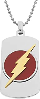 DC Comics 男士首饰闪电*英雄不锈钢狗牌吊坠项链,55.88 厘米