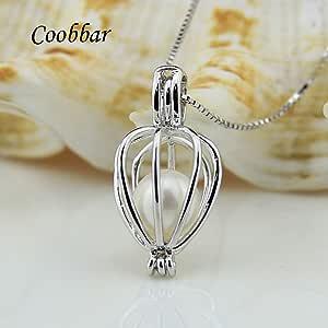 Coobbar 1 件空心珍珠笼珍珠吊坠 2 件项链魅力项链,带 4 件珍珠适用于 DIY 项链 Hollowed Heart generic CB-Hollowcage