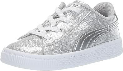PUMA 彪马 女童 Basket Metallic 运动鞋 Silver-grayviolet-white 2.5 Little Kid