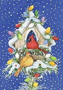 托兰家庭花园红雀灯 71.12 x 101.6 cm 装饰性冬季雪圣诞节鸟节日鸟屋屋旗