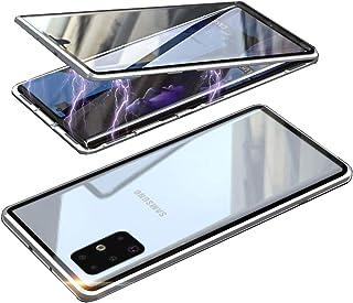 HONTECH 三星 Galaxy S20 Ultra 磁性手机壳,前后磁性吸附手机壳,透明钢化玻璃,内置屏幕保护膜,金属保险杠翻盖,6.9 英寸 2020 银色