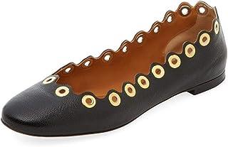 Chloe 女式黑色 grommet 扇形皮革芭蕾平底鞋 黑色 35.5 EU