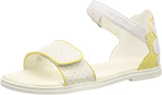 Geox 女孩 J Karly F 露趾凉鞋 White (White/Yellow C0592) 11.5 UK Child