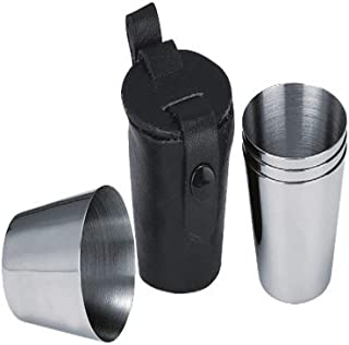 Visol Stainless Steel Shot Cups with Leather Carrying Case, 1-Ounce, Chrome, Set of 4