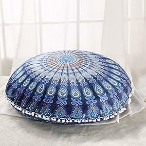 sleepwish 大号圆形枕套波西米亚 mandala 地板靠垫 ZEN 冥想枕套户外啦啦枕头枕套