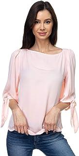 VIA Jay 女式基本款休閑寬松七分袖襯衫