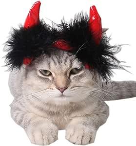 ANIAC 宠物万圣节服装可调节角帽子狗狗猫咪 红色 中