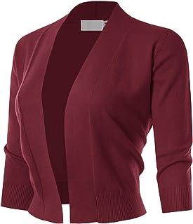 MAYSIX APPAREL 七分袖纯色开襟开衫 女式 (S-XL)