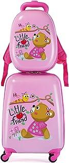 MOREFUN 2 件套儿童行李箱套装,13 英寸和 18 英寸幼儿旅行手提箱,万向轮儿童背包,男孩女孩硬壳行李箱 熊