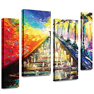 ArtWall Susi Franco 'Rainy Paris Evening' 4-Piece Staggered Gallery Wrapped Canvas Artwork 24X36
