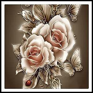 5D 水钻画水晶家居装饰 DIY 钻石画玫瑰和蝴蝶十字绣图案钻石刺绣 30x30CM 43235-90698