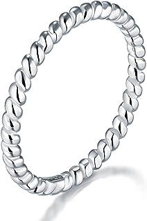 BORUO 925 纯银戒指高抛光永恒绳抗锈蚀舒适佩戴婚戒 2mm 戒指