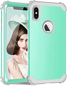 iPhone xS Max 6.5 英寸手机套,PIXIU 独特混合三层重型防震全身坚固保护壳,不带内置屏幕保护膜 Mint Green