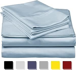 THREAD SPREAD 异域风情酒店系列 * 埃及棉缎 - 正品 800TC 床单套装 白色和象牙色 浅蓝色 加州King size CO-800TC-CalK0-LIGHT BLUE