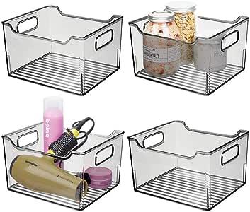 mDesign 带手柄深层塑料浴室梳妆台储物箱 - 收纳洗手皂、沐浴露、乳液、护发素、手巾、发刷、漱口水 - 25.4 cm 长 烟灰色 4片装 04798MDBSTEU