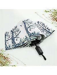 (幸福树系列) Yandex 防紫外线三折伞超轻太阳伞黑胶防晒伞遮阳伞晴雨两用伞 (白色)