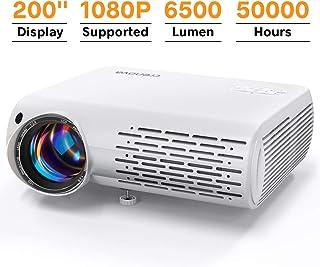 支持视频投影仪 1080P,Crenova 迷你投影仪 6500 Lux 家庭影院投影仪,200英寸显示投影仪,50,000小时LED寿命,可与手机、电脑、Mac、电视棒、PS4、HDMI、USB 适用于家庭影院