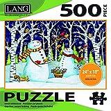 "LANG - 500 片拼图 -""桦木和雪人"",Debi Hron 艺术品 - 亚麻饰面 - 60.96 x 45.72 厘米完成"