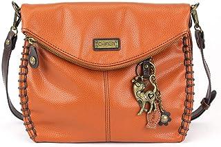 Chala Charming 斜挎包带盖顶盖带盖带拉链橙色斜挎包或单肩包带金属链