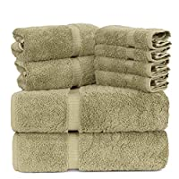 Luxury Spa and Hotel Quality Premium Turkish 8 Pieces Towel Set (2 x Bath Towels, 2 x Hand Towels, 4 x Wash Cloths, Champagne)