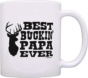 父亲节礼物 Best Buckin Papa Ever Country Gag 礼物咖啡杯茶杯 白色 11 盎司 1