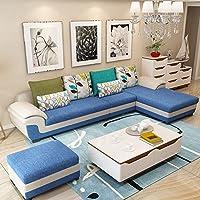(6色可选 产品质保3年)现代时尚沙发 布艺沙发组合 款式新颖简约现代 布沙发转角沙发 客厅家具客厅沙发组合 大中小户型沙发 全布艺可拆洗 (三人位+贵妃位(左右贵妃可选)(长度2.92米-适合中小户型), 地中海蓝色)(买就送清洁液+空调被+高级沙发凳2张)