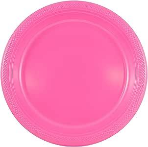 - 圆形和方形彩色塑料盘子–7,21.59cmx27.94cm–10/ 20盘每包 粉色 9 Inches - Round (Medium)