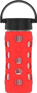 Lifefactory 玻璃水瓶 不含双酚A 带经典盖 保护性硅胶套 Apple Red 12 Ounce