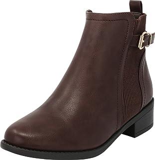 Cambridge Select 女士 Chelsea 弹力针织粗叠叠层低跟及踝短靴