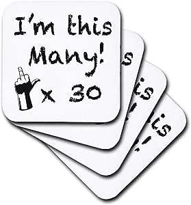 3dRose cst_157358_2 I'm This Many X30 Soft Coaster (Set of 8)