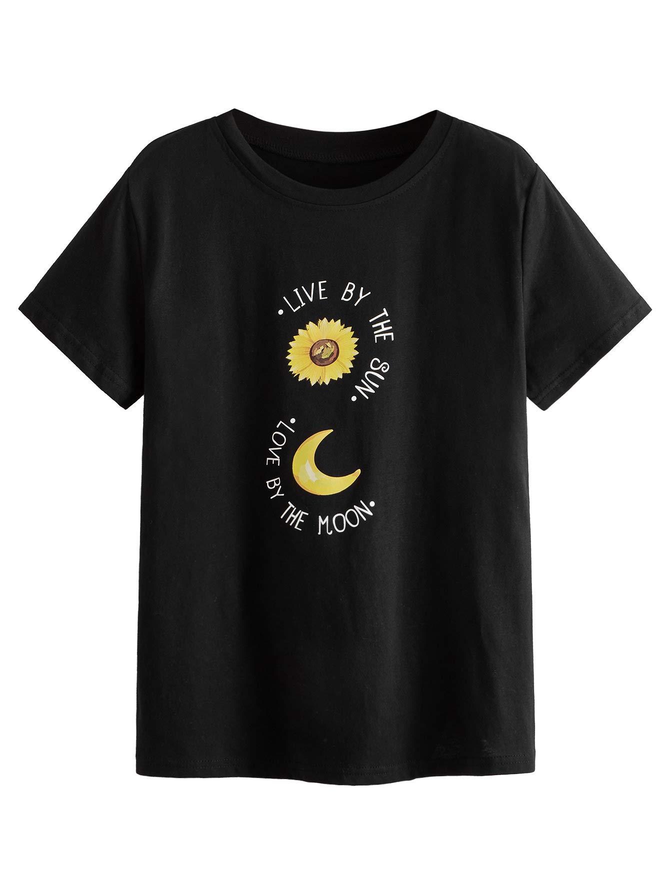 SweatyRocks女性美しいヒマワリのプリントラウンドネック半袖Tシャツシャツは
