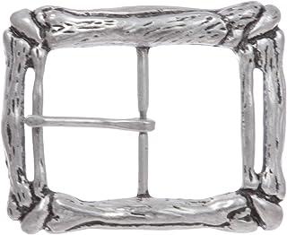 1 3/4 英寸 (45 mm) 锻造西部雕刻中心条单叉矩形皮带扣