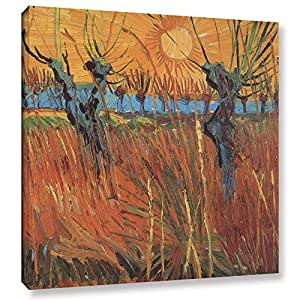 ArtWall Vincent Vangogh's Pollard Willows with Setting Sun, Willows at Sunset Gallery Wrapped Canvas Artwork, 18 by 18-Inch