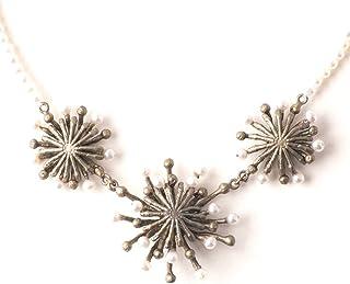 """""""火轮""""轮廓珍珠项链由 Michael Michaud 设计,适合银色季节."""