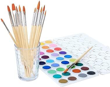 水彩艺术家套装,36 种颜色,包含 12 种优质刷,开始所需的一切! 刷子非常适合水彩和丙烯酸树脂使用 Watercolor Pan 0189
