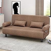 多功能可折叠沙发床简约现代小户型沙发卧室单双人折叠床榻榻米棉麻布艺沙发 (卡其色, 150cm)