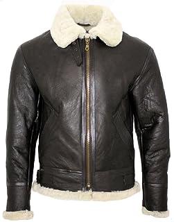 Infinity 男式奶油色 B3 羊皮 World War 2 飞行员皮夹克