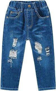 SHOOYING 男孩破洞牛仔裤牛仔裤