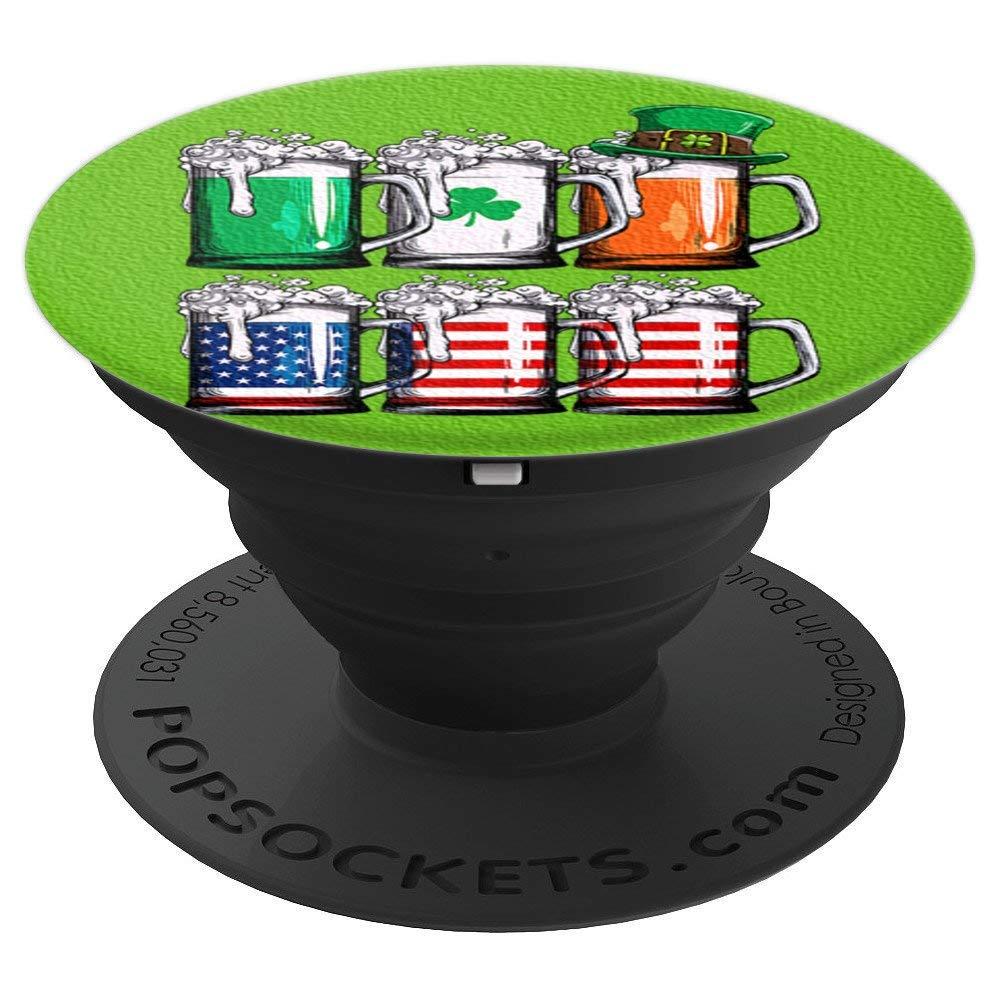 爱尔兰美国国旗啤酒趣味圣帕特里克节男士爱尔兰冰袜手机和平板电脑抓握支架260027  黑色